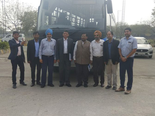 DIMTS Senior officials headed by MD DIMTS visited Driving Training School, Burari New Delhi managed by Ashok Leyland focussing on Road safety and studying the prototype of swapping of Batteries in Electric Vehicles.